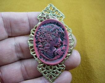 Woman with curls hair and flowers pink black oval CAMEO pin pendant textured filigree brass brooch cred-49