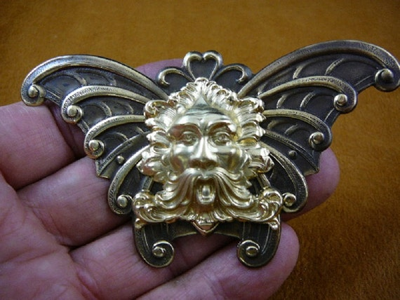 Green Man Aeolus God Of Wind Nature Butterfly Scrolled Wings Etsy