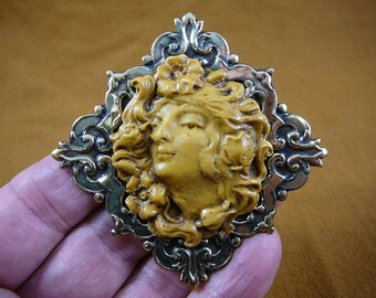Lady Woman hair blowing in the wind flower flowers in hair Antique ivory yellow Cameo brass pin pendant brooch CL61-5
