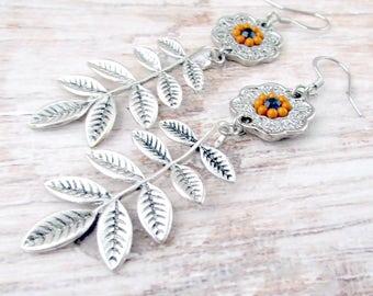 Womens Leaf Earrings - Boho Mandala Earrings - Girlfriend Gifts Under 20 - Boho Gifts for Her - Everyday Earrings - Silver Jewelry - Branch
