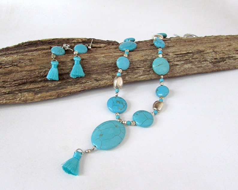 Turquoise Matched Jewelry Set Boho Turquoise and Silver Necklace
