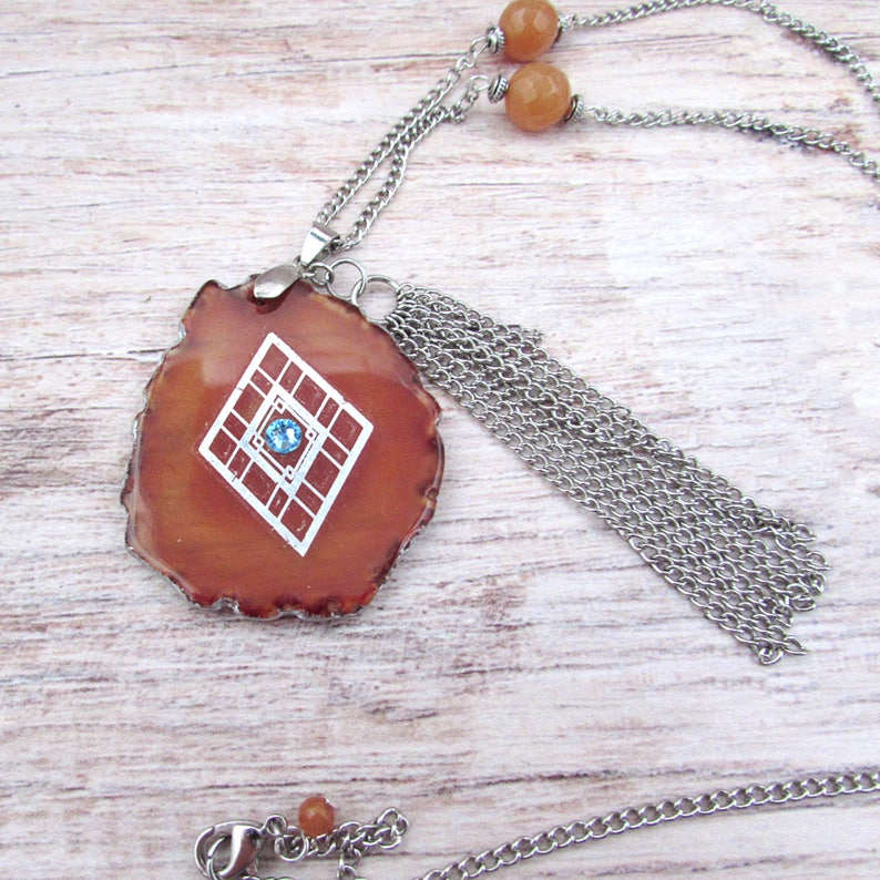 Agate Slice Necklace  Boho Fringe Necklace  Evil Eye image 0