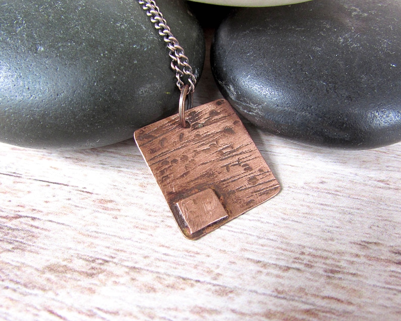 Copper Square Pendant Necklace  Geometric Minimalist Necklace image 0