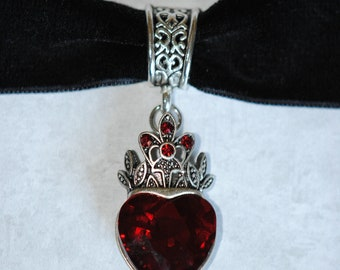 Crowned Red Velvet Glass Heart choker, Valentine's Day, Wedding, Renaissance, Gothic, Medieval, Cosplay