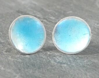 Minimalist fine silver enamelled earrings