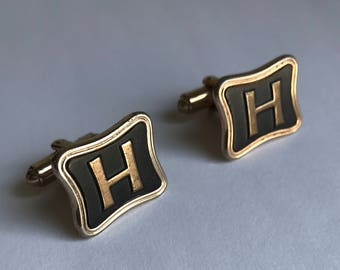 Vintage Black and Goldtone Initial H Cuff Links / Vintage Monogram Cuff Links / H Cuff Links