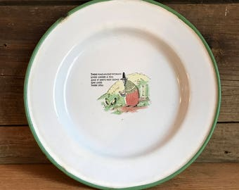 Vintage Swedish Enamelware Old Woman Lived Under a Hill Plate