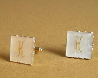 Vintage Initial K Cuff Links / Vintage Monogram Cuff Links / K Cuff Links
