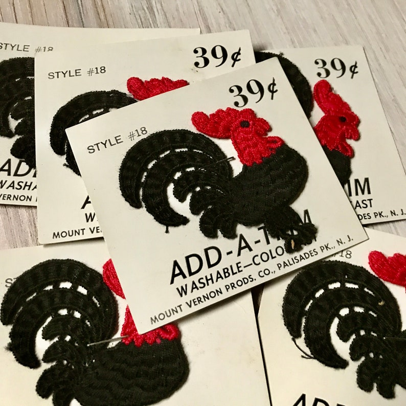 Six Vintage Black and Red Rooster Crochet Appliqu\u00e9