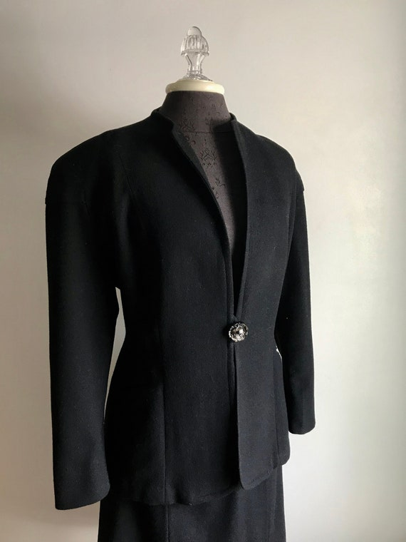 Vintage 40's Black Wool Jacket and Matching Skirt