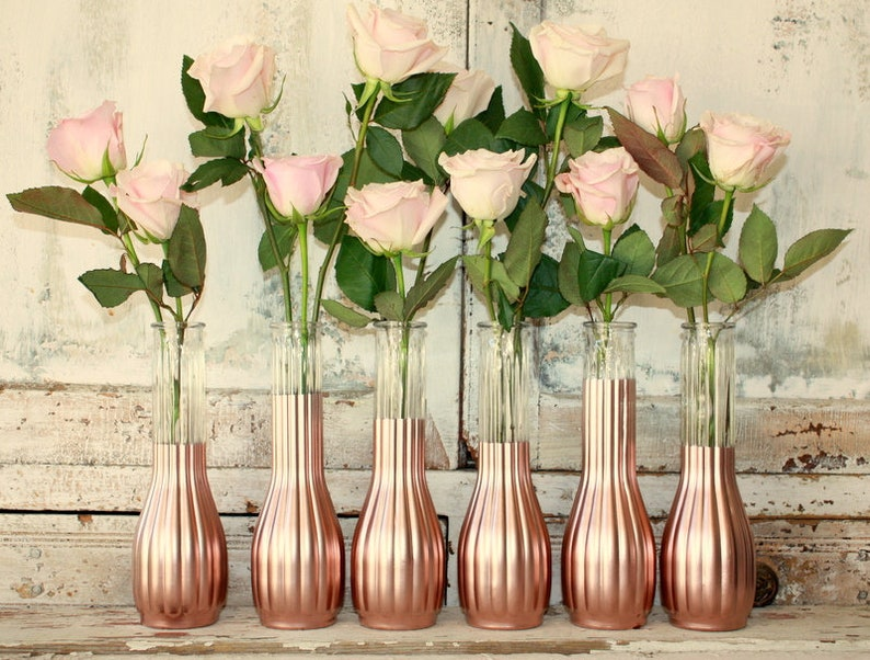 Wedding Centerpieces Bridal Party Rose Gold Decorations Etsy