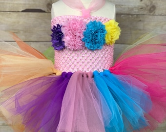 775cbd63f6 Baby smash cake first birthday rainbow tutu dress & unicorn headband set.  Ready to ship. Photo prop, LGBTQ pride, wedding, Princess party