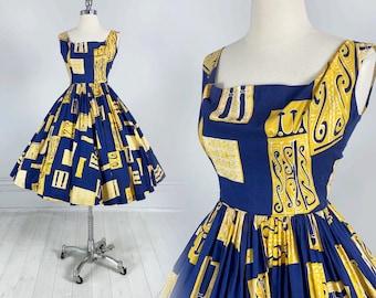 Vintage 50s HAWAIIAN DRESS Blue & Yellow Tiki Print / fit and flare / full skirt / novelty print / aloha pin-up / cotton XS