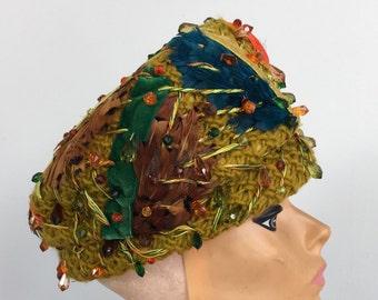 2cff04b9e58 Vintage CHRISTIAN DIOR HAT chapeaux beaded feathers velvet yellow green  teal orange turban designer 1950s 1960s