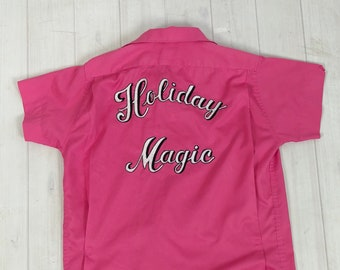 "Vintage 1960s Hilton BOWLING SHIRT Hot Bubblegum Pink Chainstitch ""Holiday Magic"" women's 36 S M L rockabilly pin-up league team embroidery"