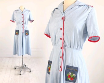 8113009ba0d4 Vintage Waitress / Diner Dress with Embroidered STRAWBERRY N DENIM POCKETS  blue white & red buttons daisy cute Boho Betty M 60s 70s