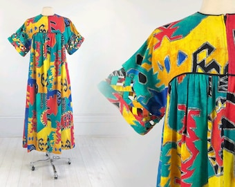 15a4009ee02 Vintage 70s DAVID BROWN California multi-color House Dress robe kaftan  southwestern print retro lounge cotton S designer