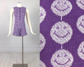 Vintage 1970s SMILEY FACE ROMPER playsuit jumpsuit purple knit disco mod hot pants festival fashion S - M cute fun rare