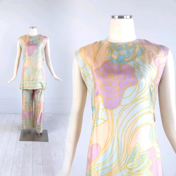 Vintage 1960s psychedelic MOD PRINT 2 piece outfit