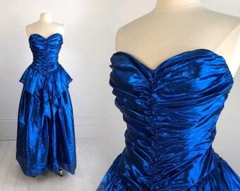 Vintage 1980s Metallic Blue PROM DRESS by Zum Zum strapless gown formal party wild child peplum S M 80s dance
