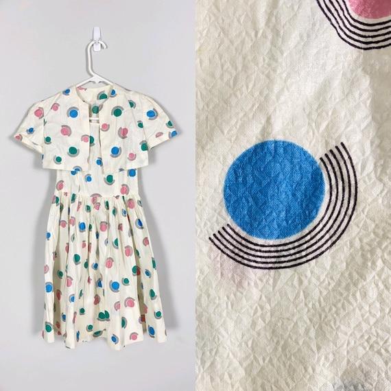 1940s Child's DRESS & BOLERO novelty print textur… - image 1