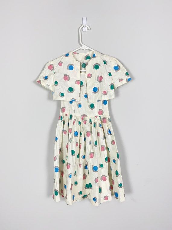 1940s Child's DRESS & BOLERO novelty print textur… - image 2