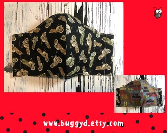 REVERSIBLE Reusable Motorcycle Motor Bike Fitted Face Mask | Cotton | Made in Canada | Large Men's Adult Face Mask | Ready to Ship | Size L