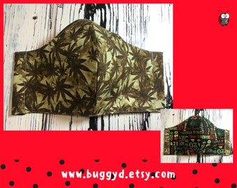 REVERSIBLE Reusable Adult Fitted 420 Weed Face Mask | Cotton | Made in Canada | Adult Face Mask | Ready to Ship | Size L Green