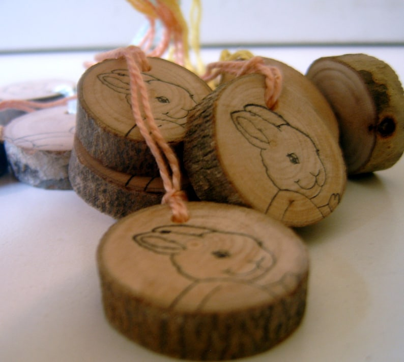 30 Rustic Wooden Baby Shower Bunny Rabbit Hang Tags With Colored String