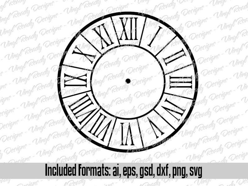 Clock Face Template Pattern Vector Clip Art Svg Eps Ai