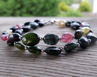 Blue, Green, Yellow, and Pink Tourmaline with Sterling Silver Double Strand Gemstone Bracelet