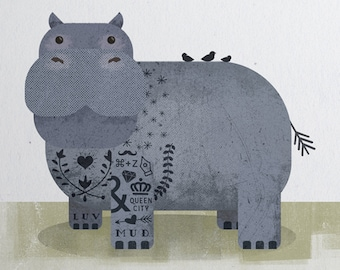 Baby Animal Print, Nursery Animal Print, Hippo Print, Tattoo Kids, Baby Shower Gift, Zoo, Kids Room Print, Baby Room, New Born Gift, Hipster