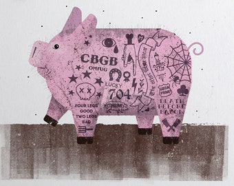 Baby Animal Print, Nursery Animal Print, Pig Print, Tattoo, Baby Shower, Farm, Zoo, Kids Room Print, Baby Room, New Born Gift, Punk Rock