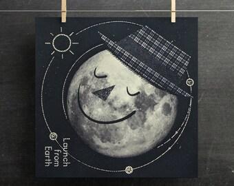 Moon Art Print, Retro Moon Poster, Kids Room Space Print, Moon Nursery Print, Retro Moon Solar System, Mid Century Prints