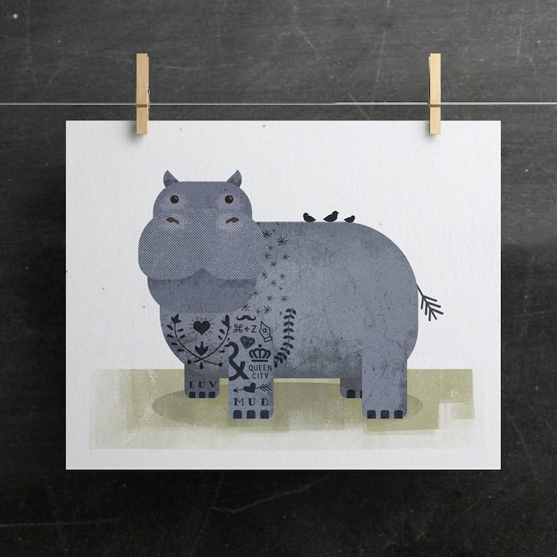 Baby Animal Print Nursery Animal Print Hippo Print Tattoo image 0