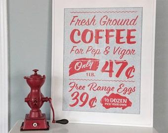 Kitchen Coffee Print, Vintage Advertising Poster, Vintage Kitchen Wall Art, Retro Decor, Coffee Sign, Breakfast Nook, Grocery Store