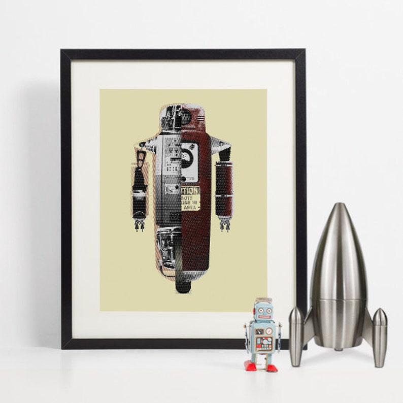 Robot Art Print Retro Robot Wall Art Vintage Robot image 0