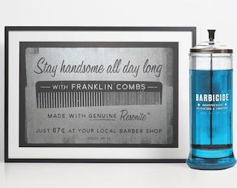 Barber Shop Decor, Mens Hair Comb, Retro Bathroom, Barber Gift, Bathroom Wall Art, Hair Stylist Print,