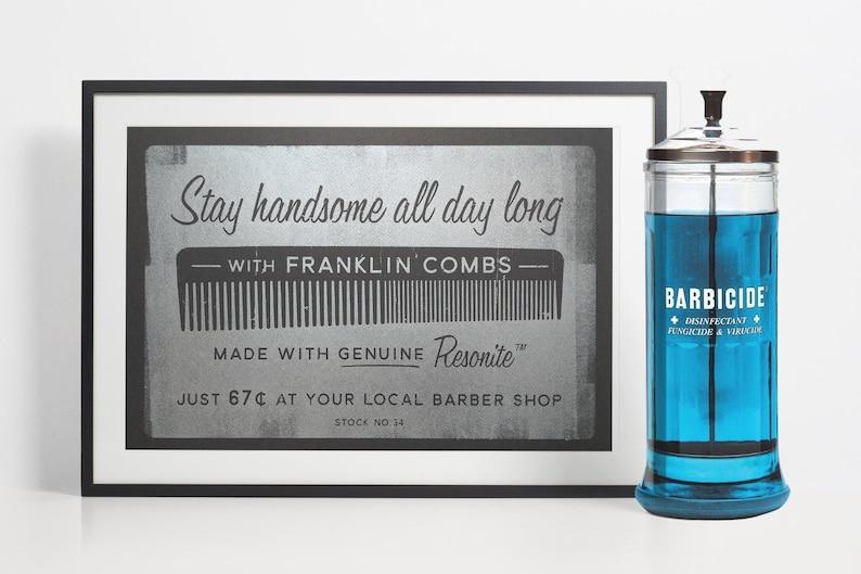 Barber Shop Decor Mens Hair Comb Retro Bathroom Barber image 0