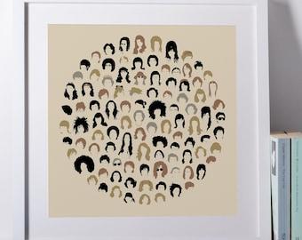 Hair Salon Poster, Hair Stylist Gift, Vintage Hairstyle Chart, Minimalist Salon Wall Art, Vintage Hair Chart Poster