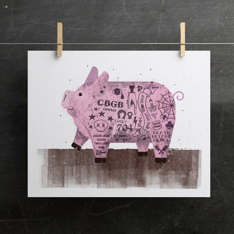 Baby Animal Print Nursery Animal Print Pig Print Tattoo image 0