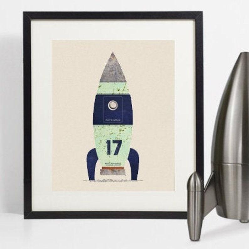 Space print Spaceship art Nursery wall art Nursery wall image 0