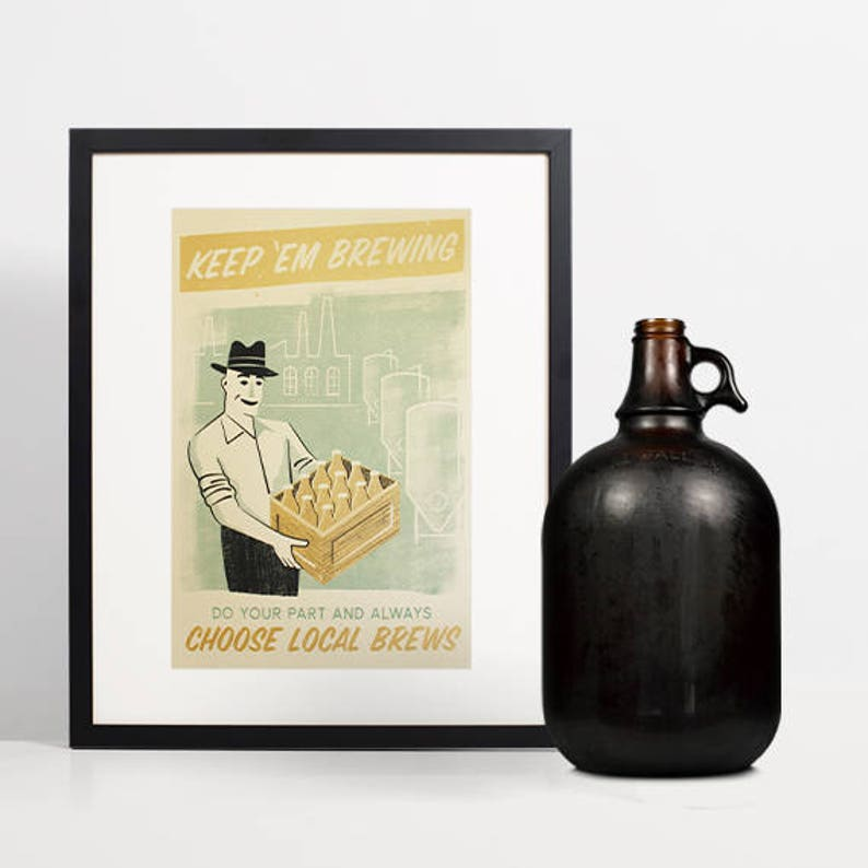 Beer Lover Gift Retro Bar Decor Local Beer Art Craft Beer image 0