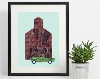 Southern Home Decor, Barn Art Print, Rustic Farmhouse Barn, Red Barn Wall Art, Farmers Almanac, Country Home Decor