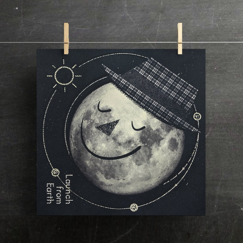 Moon Art Print Retro Moon Poster Kids Room Space Print Moon image 0