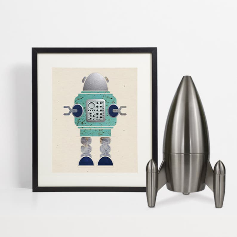 Nursery Decor Kids Robot Print Robot Art Boys Bedroom Kids image 0