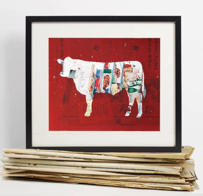 Kitchen Decor Wall Art Cow Vintage Meat Chart Butcher Chart image 0