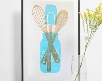 Mason Jar Wall Decor, Farmhouse Kitchen Print, Cooking Gifts, Southern Kitchen Decor, Ball Jar Poster, Baking Gift