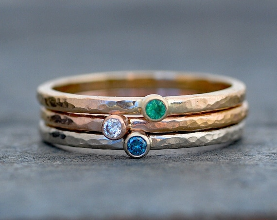 Diamond Emerald Rings- Stacking Rings in White, Yellow, and Rose Gold Blue White Diamond and Emerald Custom Made