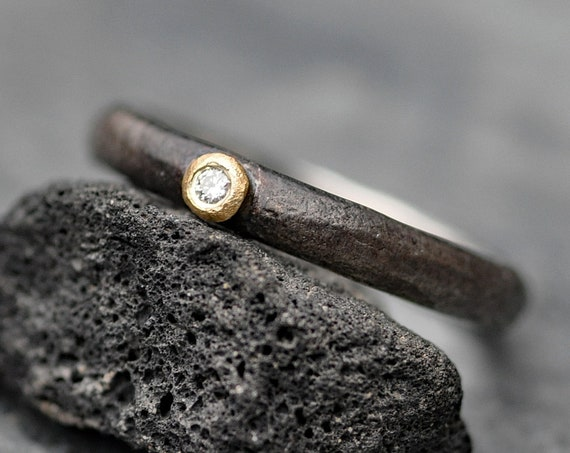 White Diamond on 18k Yellow Gold and Oxidized Reticulated Sterling Silver Band Size 7.5 Ready to Ship